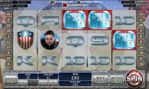 Carnival featuring the Video Slots Captain America The First Avenger with a maximum payout of Jackpot