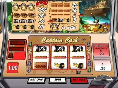 7Red featuring the Video Slots Captain Cash with a maximum payout of $1,000
