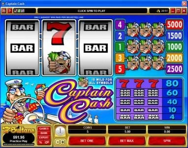 Casino Share featuring the Video Slots Captain Cash with a maximum payout of $25,000