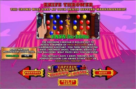Secret Slots featuring the Video Slots Captain Cannon's Circus of Cash with a maximum payout of 5,000x