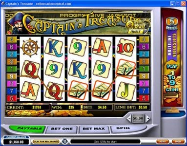 Money Storm featuring the video-Slots Captain's Treasure with a maximum payout of $10,000