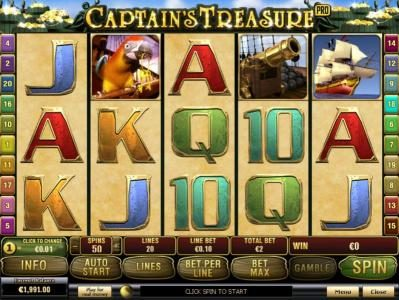 Play slots at Giant Vegas: Giant Vegas featuring the Video Slots Captain's Treasure Pro with a maximum payout of $100,000
