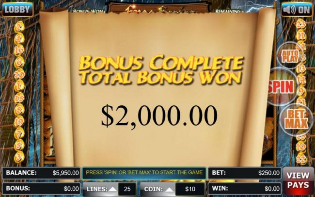 Free Spins feature pays out a total of 2,000.00