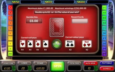 gamble feature game baord - select a color or suit for a chance to increase your winnings