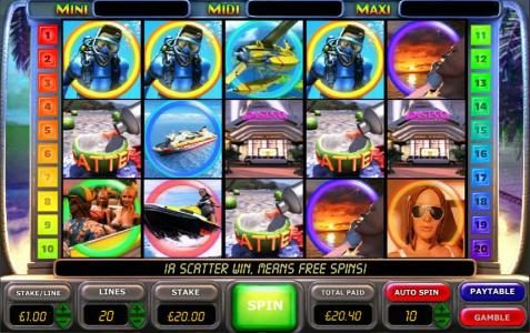 three scatter symbols triggers the free spins feature