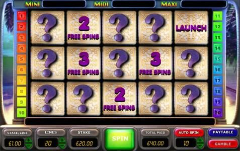 select boxes to earn free spins - free spins start when the launch is selected