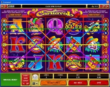 Mongoose Casino featuring the Video Slots Carnaval with a maximum payout of $25,000