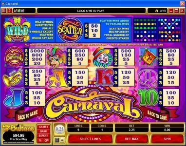 Phoenician featuring the Video Slots Carnaval with a maximum payout of $25,000