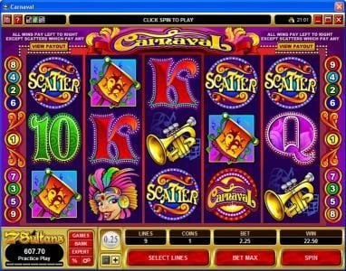 Casino Kingdom featuring the Video Slots Carnaval with a maximum payout of $25,000