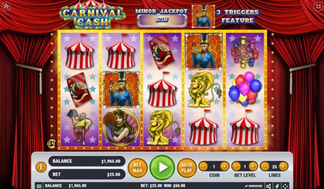 Vegas Crest featuring the Video Slots Carnival Cash with a maximum payout of $62,500