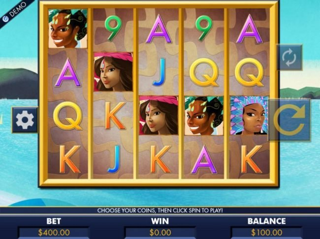 A festival dancer themed main game board featuring five reels and 100 paylines with a $4,000 max payout