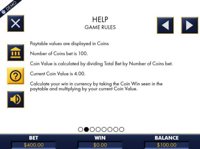 Paytable values are displayed in coins. Number of coins bet is 100.