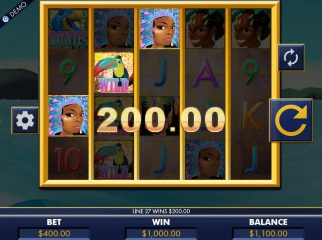 Multiple winning paylines triggers a 1,000.00 big win!