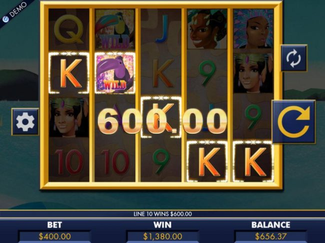 A 1,380.00 big win triggered by multiple winning paylines