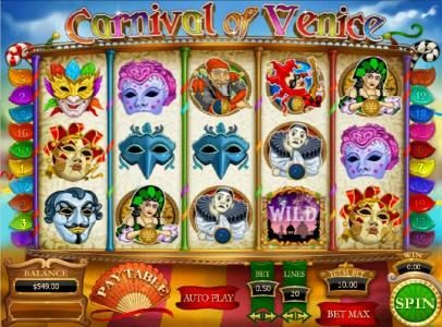 Carnival of Venice :: main game board featuring five reels and twenty paylines with a 15000x max payout