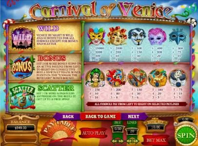 Carnival of Venice :: slot game symbols paytable