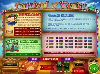 Carnival of Venice :: bonus game rules, scatter rules and general game rules along with payline diagrams