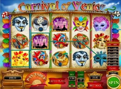 Carnival of Venice :: multiple winning paylines triggers a $126 big win