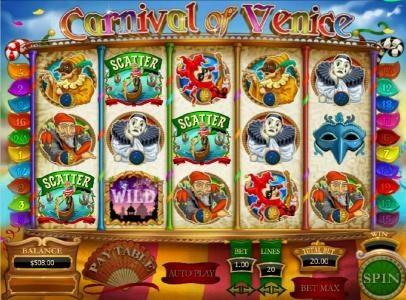 Carnival of Venice :: free spins feature triggered by three scatter symbols