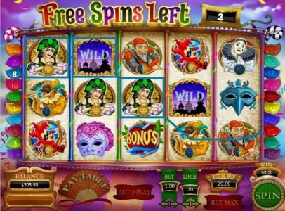 Carnival of Venice :: three of kind triggers a $60 jackpot