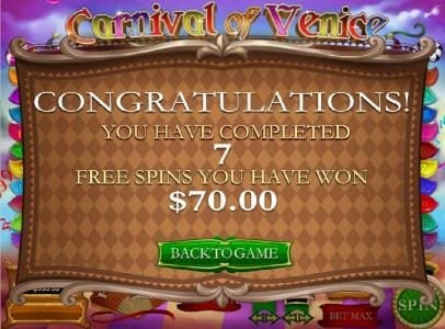 Carnival of Venice :: after 7 free spins a $70 pay out was awarded