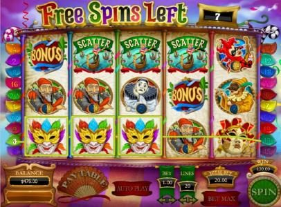 Carnival of Venice :: three of a kind triggers a $120 big win and three scatter symbols triggers more free spins
