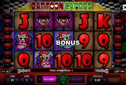 Slots Cafe featuring the Video Slots Cartoon Capers with a maximum payout of $2,250