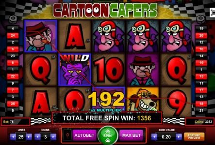 Miami Dice featuring the Video Slots Cartoon Capers with a maximum payout of $2,250