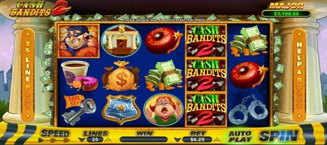 Cash Bandits 2 :: Main game board featuring five reels and 25 paylines with a $12,500 max payout.