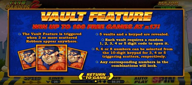 Cash Bandits 2 :: Vault Feature Rules - Win up to 190 free games at x17