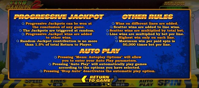 Cash Bandits 2 :: Progressive Jackpot and General Game Rules