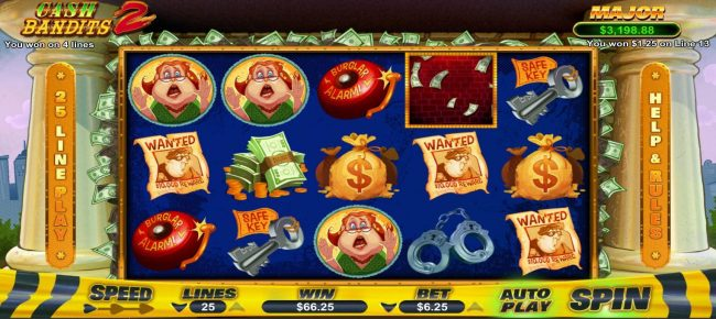 Plenty Jackpots featuring the Video Slots Cash Bandits 2 with a maximum payout of $12,500