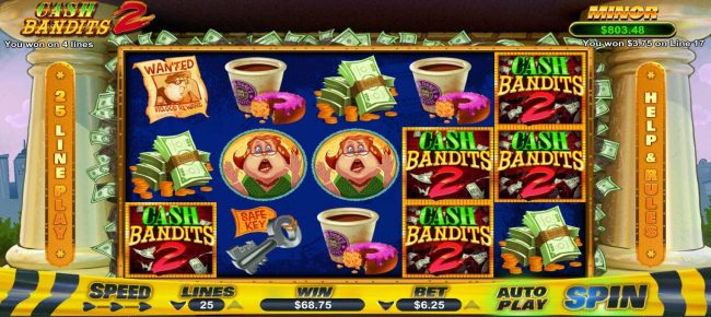 Manhattan Slots featuring the Video Slots Cash Bandits 2 with a maximum payout of $12,500