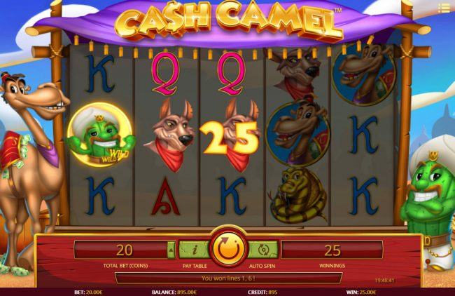 Joe Fortune featuring the Video Slots Cash Camel with a maximum payout of $10,000