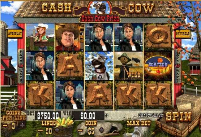 A farm animal themed main game board featuring five reels and 50 paylines with a $250,000 max payout.