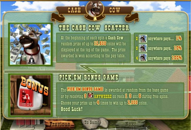 The Cash Cow Scatter and Pick-Em Bonus Game