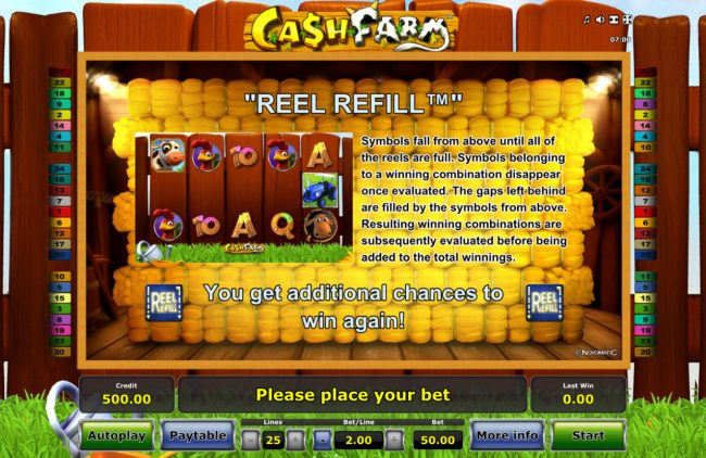 Quasar featuring the Video Slots Cash Farm with a maximum payout of $25,000