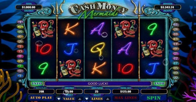 Play slots at BetOnline: BetOnline featuring the Video Slots Cash Money Mermaids with a maximum payout of $250,000