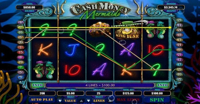 Lake Palace featuring the Video Slots Cash Money Mermaids with a maximum payout of $250,000