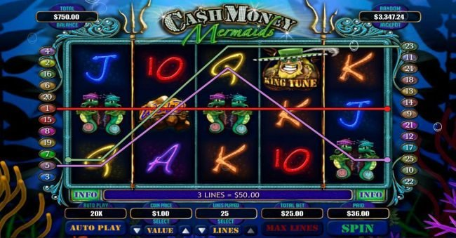 Real Bet featuring the Video Slots Cash Money Mermaids with a maximum payout of $250,000