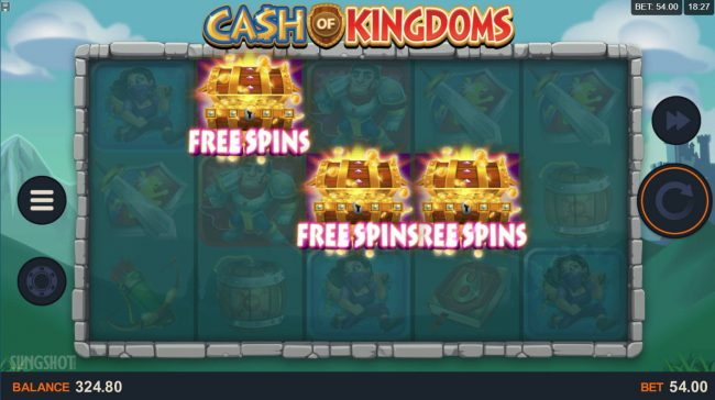21 Jackpots featuring the Video Slots Cash of Kingdoms with a maximum payout of $100,000