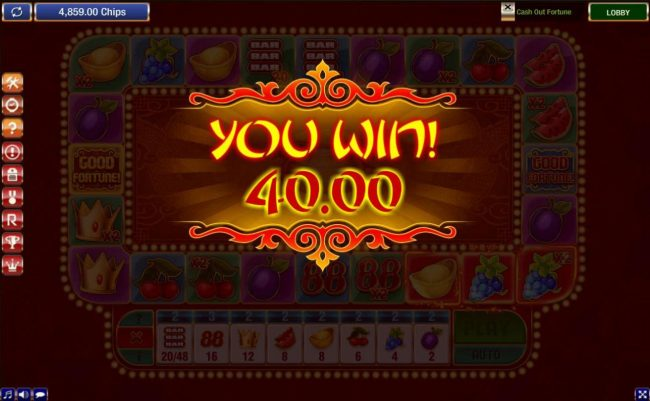 888 Casino featuring the Video Slots Cash Out Fortune with a maximum payout of $7,200