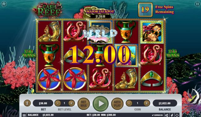 King Billy featuring the Video Slots Cash Reef with a maximum payout of $2,300,000
