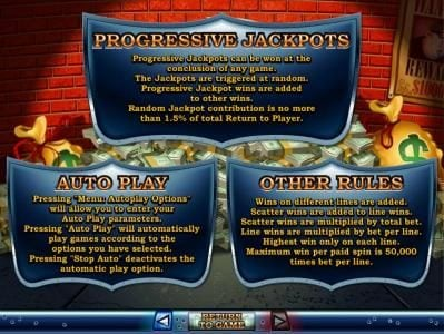 Progressive Jackopts, Auto Play and Other Rules.