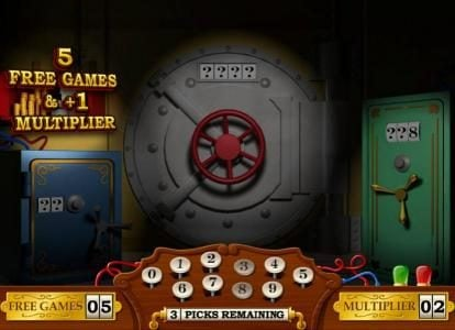 The first safe opens and awards 5 free games and a +1 multiplier