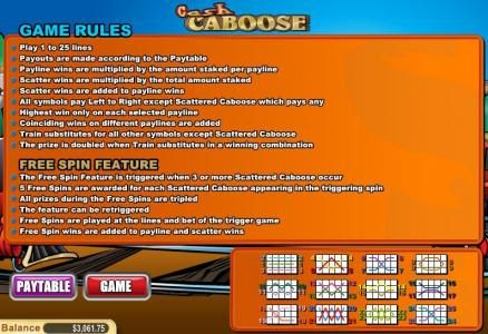 Liberty Slots featuring the Video Slots Cash Caboose with a maximum payout of $50,000