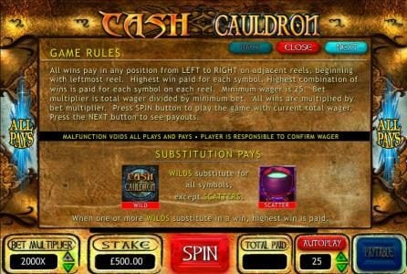 Casino Room featuring the Video Slots Cash Cauldron with a maximum payout of $500,000