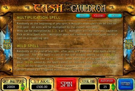 Casino 440 featuring the Video Slots Cash Cauldron with a maximum payout of $500,000