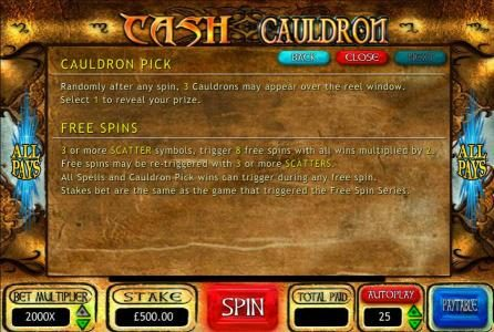 Play slots at Betway: Betway featuring the Video Slots Cash Cauldron with a maximum payout of $500,000