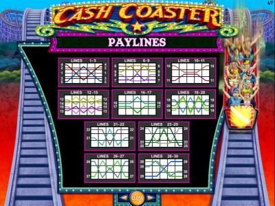 Cash Coaster :: Free Spins Line Wins low value symbols paytable